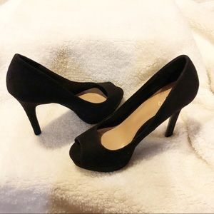 Apt 9 Black Open Toe Ultrasuede Heel